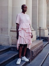 dress,mini dress,pink dress,ruffle,ruffle dress,streetstyle,sneakers,white sneakers