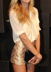 shorts,gold,High waisted shorts,candice swanepoel,blouse,metallic shorts