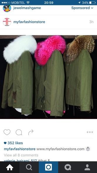 coat green pink faux fur