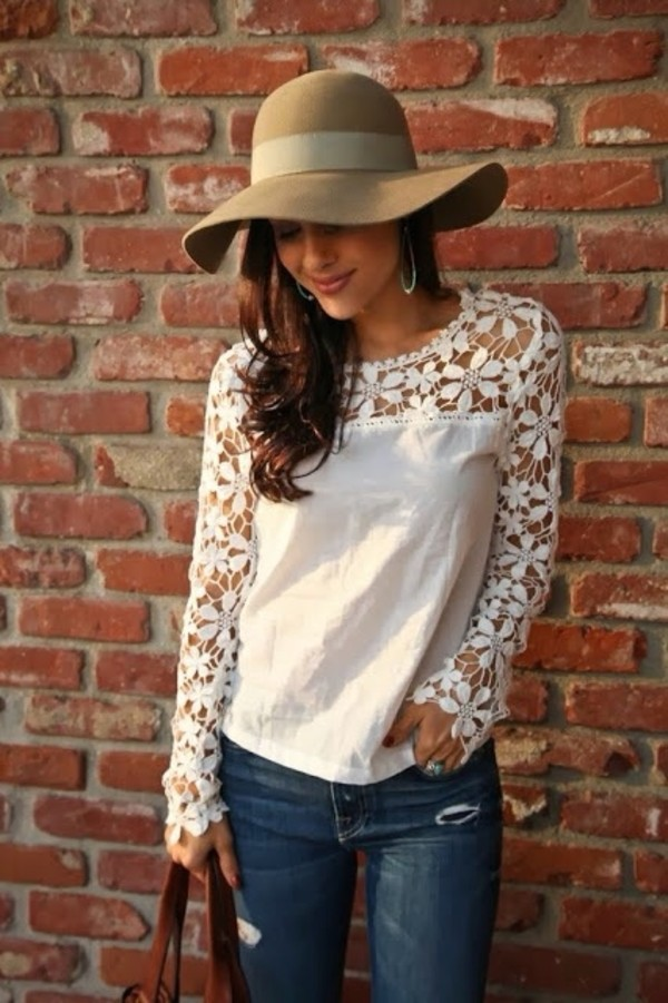 shirt blouse white long sleeves lace flowers