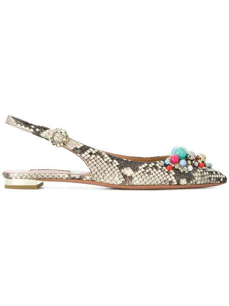 snake women flats leather nude shoes