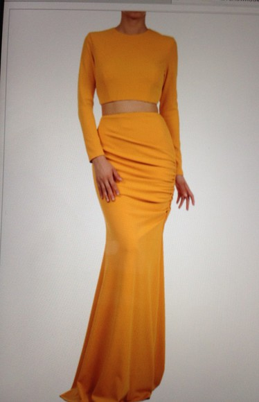 yellow two-piece fashion dress long sleeve dress