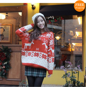 New fashion christmas deer snowflake computer embroidery sweet jumpers sweater