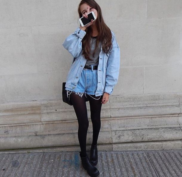 Jacket fall outfits denim jacket denim cute girl grunge tumblr tumblr outfit tumblr ...