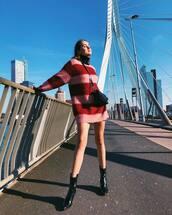 dress,mini dress,sweater dress,stripes,turtleneck dress,ankle boots,black boots,crossbody bag