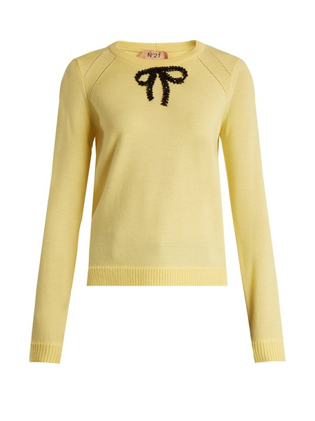 No. 21 sweater wool sweater bow embellished wool yellow