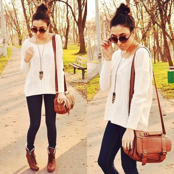shoes sweater brown boots brown purse glasses jeans shirt bag sunglasses t-shirt white sweater black pants black jeggings jewels necklace @jewels messy bun fall sweater cable knit