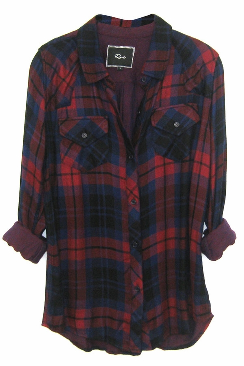 Rails kendra tencel plaid shirt in garnet/black