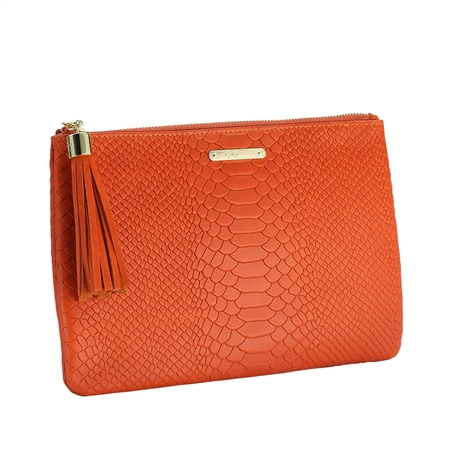 Orange All in One Bag | Embossed Python Leather | GiGi New York