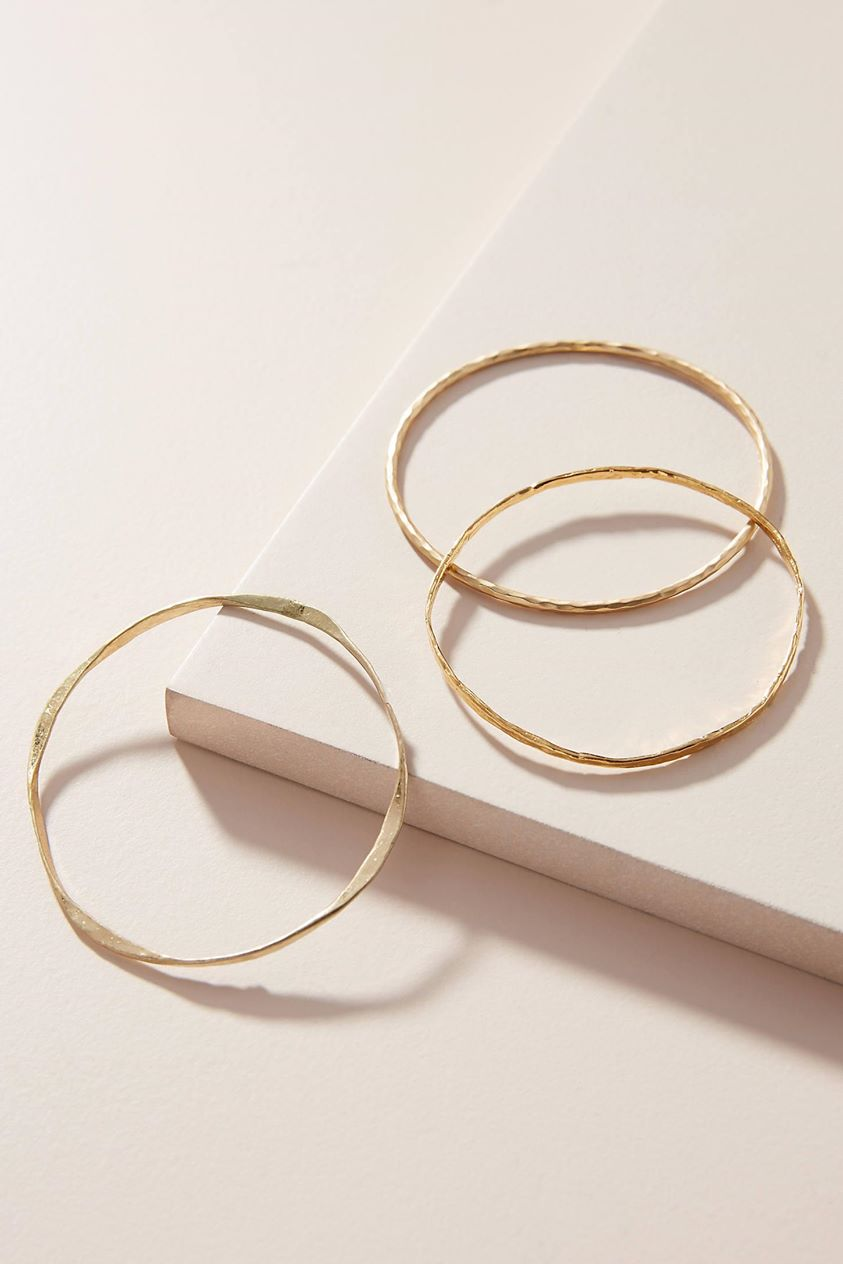 Gilded Bangle Bracelet Set by Serefina in Gold