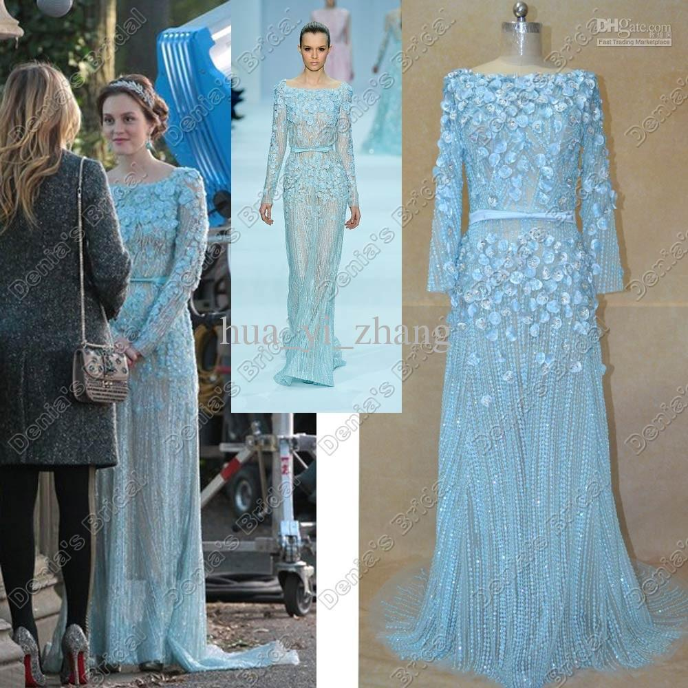 2013 Elie Saab Dresses Leighton Meester Celebrity Dresses Sheath Bateau Neckline Beeded Sheer Tulle With Long Sleeve Bride Dress-in Celebrity-Inspired Dresses from Apparel & Accessories on Aliexpress.com