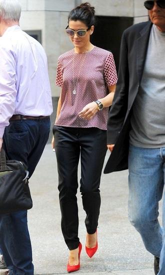 blouse celebrity sandra bullock streetstyle