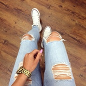 jeans,ripped jeans,converse,light jeans,shoes,ripped,white,blue,nails,watch,pants,funny,teenagers,chuck taylor all stars,michael kors,denim,jewns rippped awesome