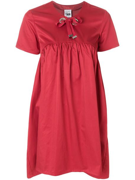 Twin-Set dress shift dress bow women cotton red