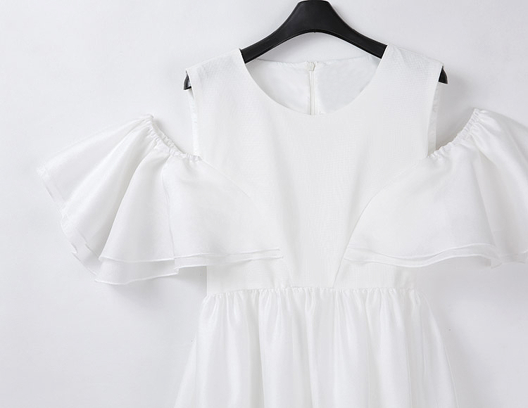 White Off the Shoulder Ruffle Loose Dress - Sheinside.com