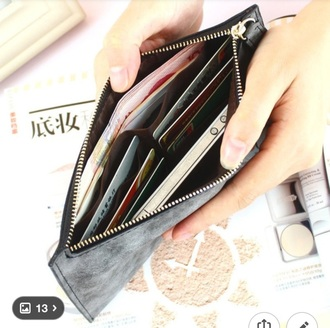 bag long wallet wallet zip pouch card holder women women's wallet suede leather