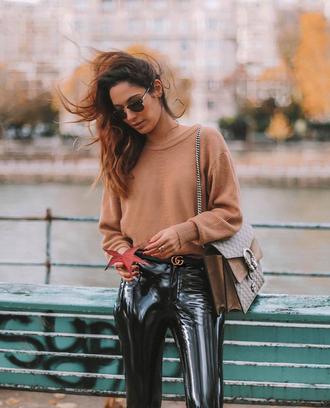 sweater tumblr nude sweater knit knitwear knitted sweater pants vinyl black vinyl pants sunglasses