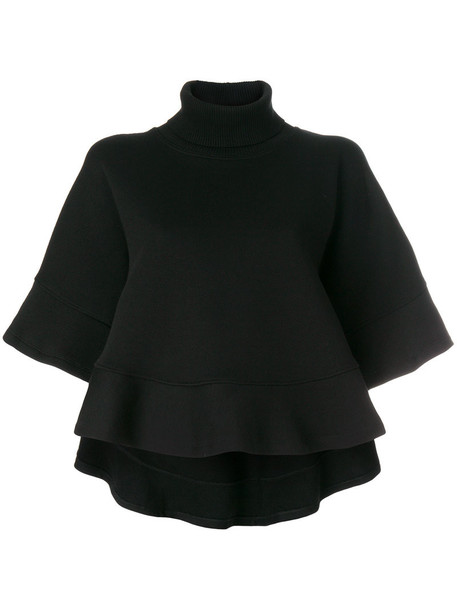 shirt cape short women cotton black top