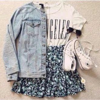 jacket jeans jean jackets blue jean jacket floral skirt skirt