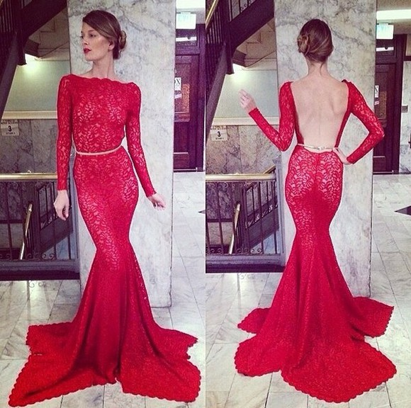 red dress dress red lace dress lace low back gown prom