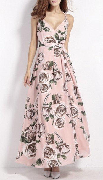dress floral summer fashion style maxi dress pink spring beautifulhalo
