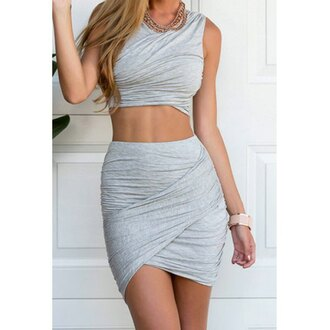 dress top skirt zaful grey dress two piece dress set two-piece grey two piece summer dress summer outfits grey bodycon dress rose wholesale bodycon beautiful women club dress girly hot style