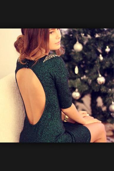backless dress emerald green short dress