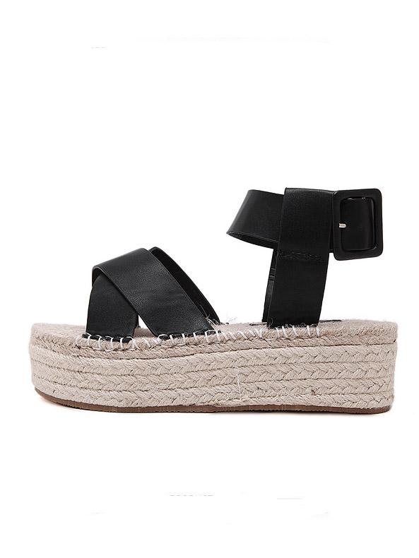 8f2fa6b1381 Black Open Toe Crisscross Strap Espadrille Sandals -SheIn(Sheinside)