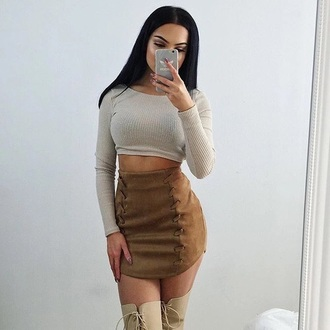 skirt nude brown top heels phone cover blouse shirt mini skirt boots grey crop tops long sleeves