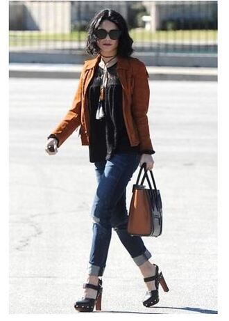 jacket jeans platform sandals vanessa hudgens top shoes suede jacket fringes