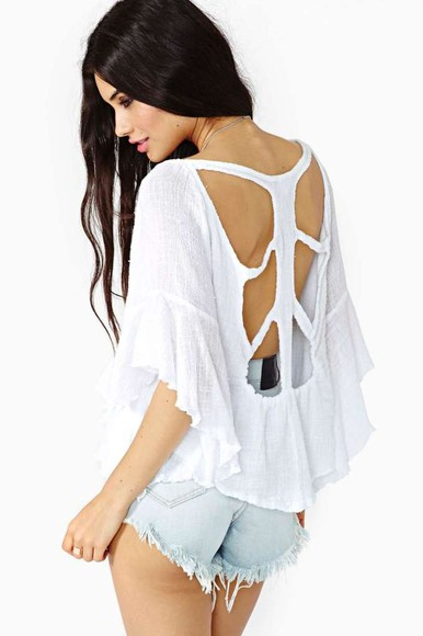 cut-out blouse white summer top