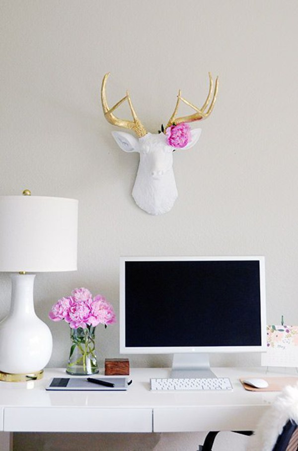 White Deer Head Wall Decor the alfred | white & gold deer head wall mount | faux taxidermy