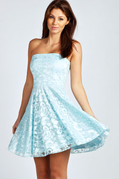 Lulu Lace Bandeau Skater Dress at boohoo.com