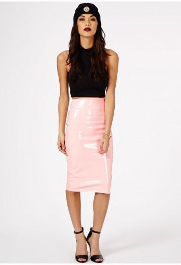 Mircia pvc midi skirt in baby pink