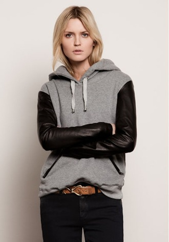 black jeans brown belt sweater jeans jacket zaful black jacket leather jacket hoodie black hoodie grey hoodie grey jacket