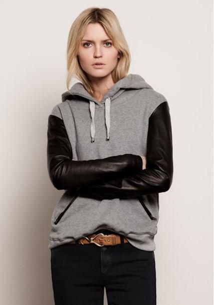 black jeans brown belt sweater jeans jacket zaful black jacket leather jacket hoodie black hoodie grey hoodie grey jacket