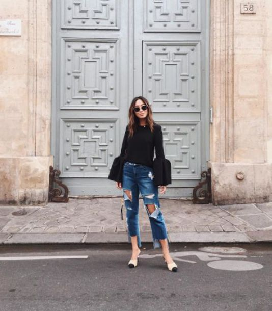 76cd3fee7fe1 shirt black bell sleeve shirt ripped jeans white and black shoes date  outfit blogger round sunglasses