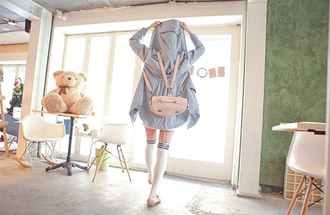 jacket asian kawaii bag pink blue socks football lovely cute back to school
