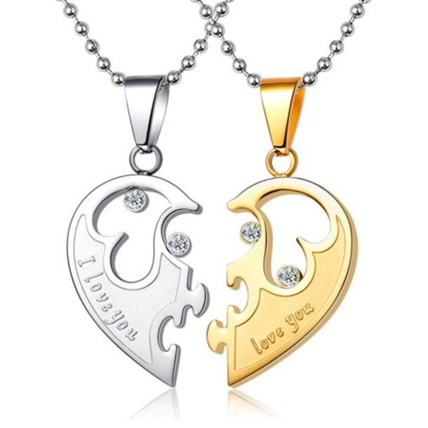 boyfriend girlfriend amp ebay gold chain hearts necklace filled pendant couple necklaces half charm heart l