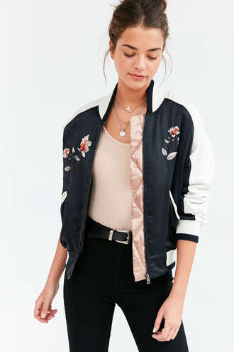 jacket bomber jacket satin bomber embroidered