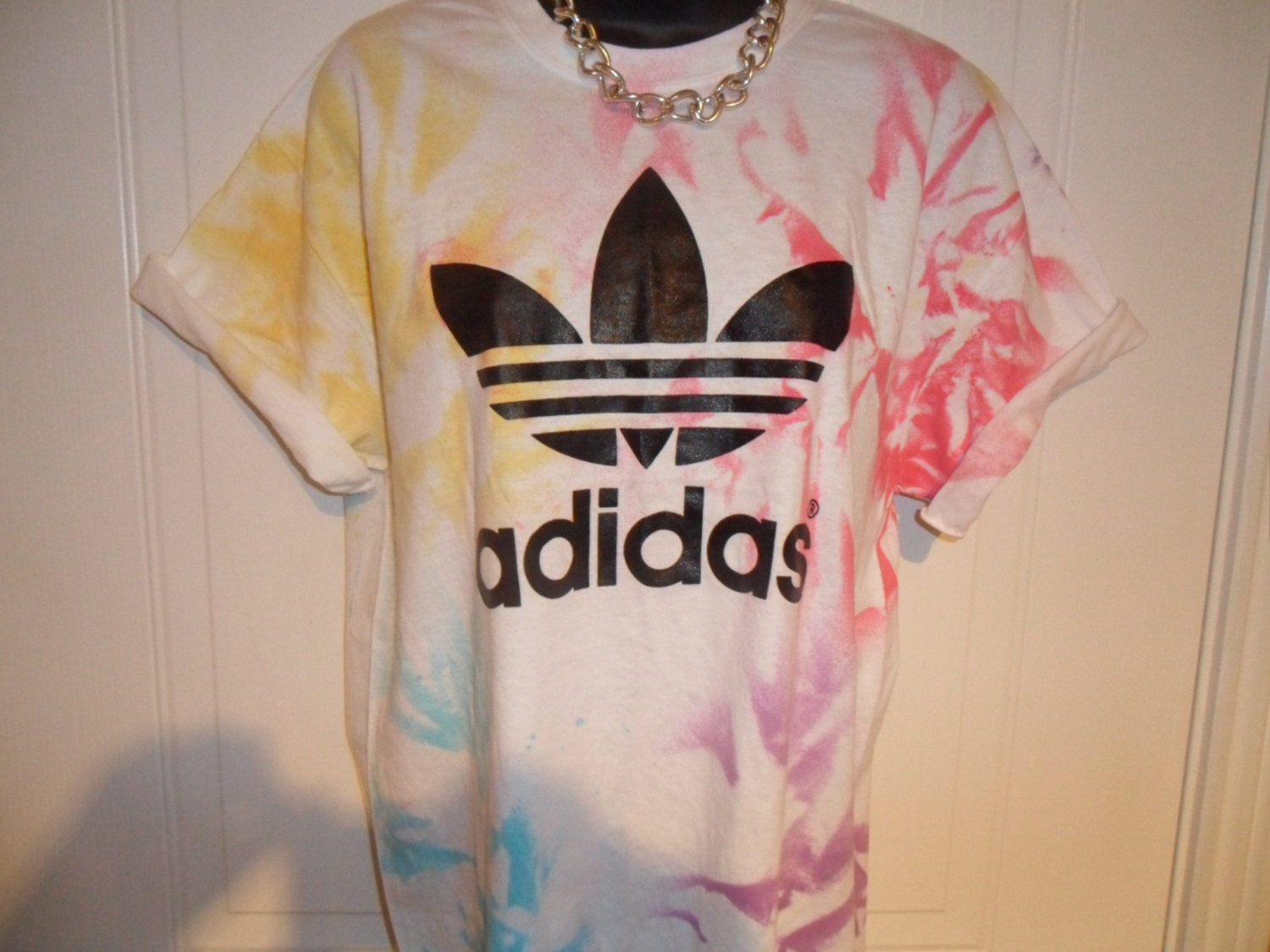 unisex customised adidas acid wash tie dye t shirt sz medium