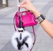 jewels,fendi,black,white,pink,bag,keychain,karl lagerfeld,accessories,fur keychain,bag accessories,karlito,pink bag,mini bag