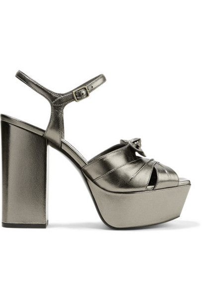 Saint Laurent bow metallic embellished sandals platform sandals leather shoes