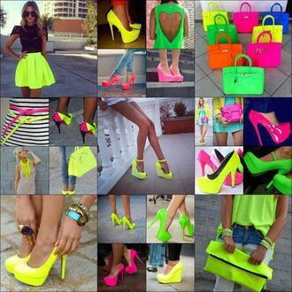 shoes blue high heels neon green neon pink neon blue pink orange skirt yellow bag fluo