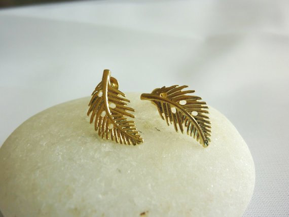Gold feather stud earringsgold leaf studssmall door momentusny