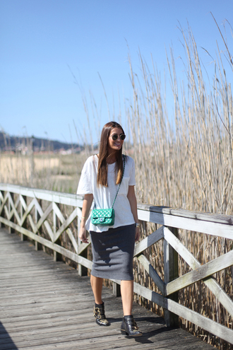 b a r t a b a c blogger top skirt shoes bag sunglasses jewels white top
