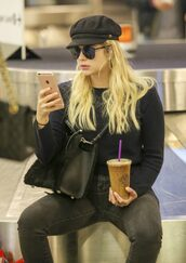 hat,jeans,fall outfits,ashley benson,sweater,sunglasses