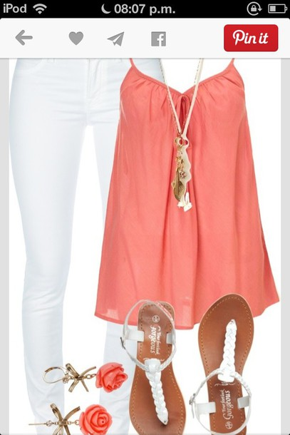 shirt coral tank top jewels