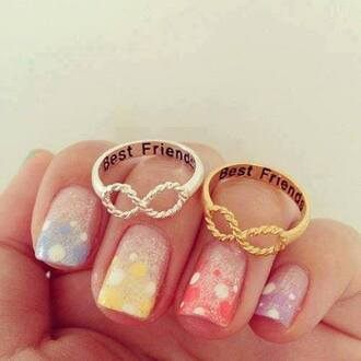 jewels silver and gold infinity rainbow nails multicolor nails ring bff gorgeous friendship