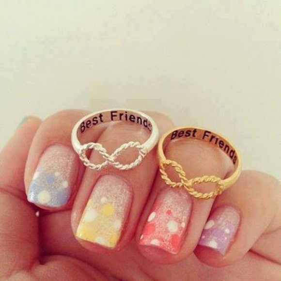 jewels infinity silver and gold rainbow nails multicolor nails rings best friends forever gorgeous best friends friendship